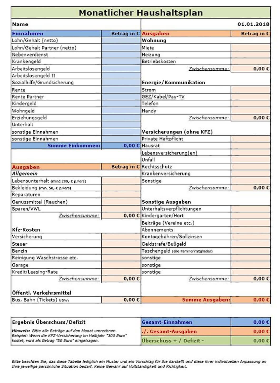 Berühmt Monatliche Haushaltsplanvorlage Zeitgenössisch - Beispiel ...
